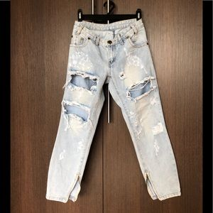 ONE by oneteaspoon ripped light wash jeans